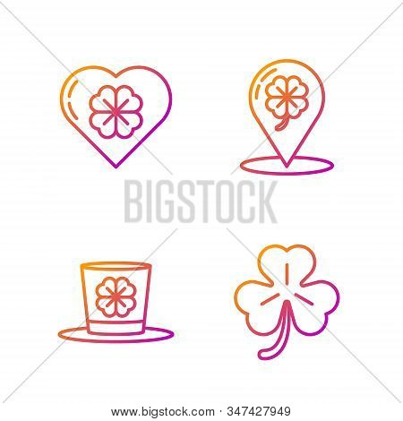 Set Line Four Leaf Clover, Leprechaun Hat And Four Leaf Clover, Heart With Four Leaf Clover And Loca