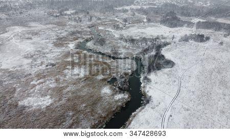 Beautiful winter river - bird's eye view