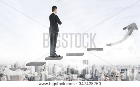 Business Man Climbing Up Stair Steps To Career Success With Business District And Horizon Skyline As