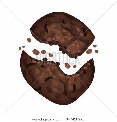 Chocolate Cookie Crumbs And Chips Isolated On White Background Vector Item