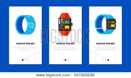 Smartwatch Models Flat Vector Icon Set. Gadget, Smart, Hi Tech, Bluetooth Isolated Sign Pack. Smartw
