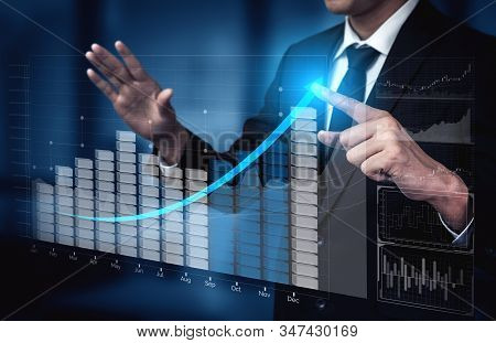 Double Exposure Image Of Business Profit Growth