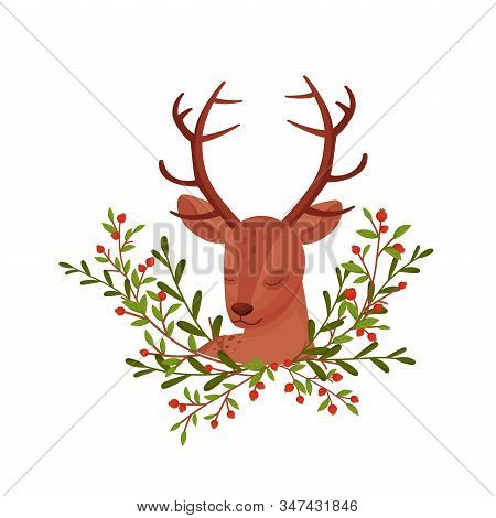Brown Deer Near Floral Twigs. Hoofed Ruminant Mammal Resting With Closed Eyesvector Illustration
