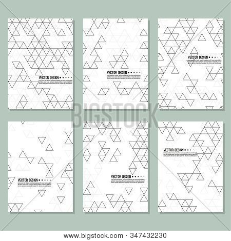 Set Of Abstract Background With Intersecting Geometric Triangular Shapes. Vector Pattern Of Triangle