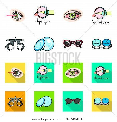 Vector Design Of Optometry And Medicine Sign. Collection Of Optometry And Diagnostic Stock Vector Il
