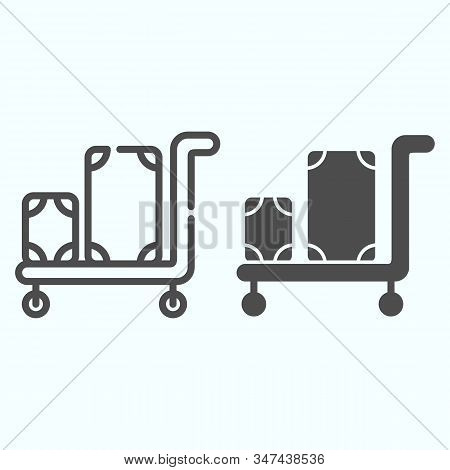 Luggage Trolley Line And Solid Icon. Baggage On A Tray Vector Illustration Isolated On White. Trolle