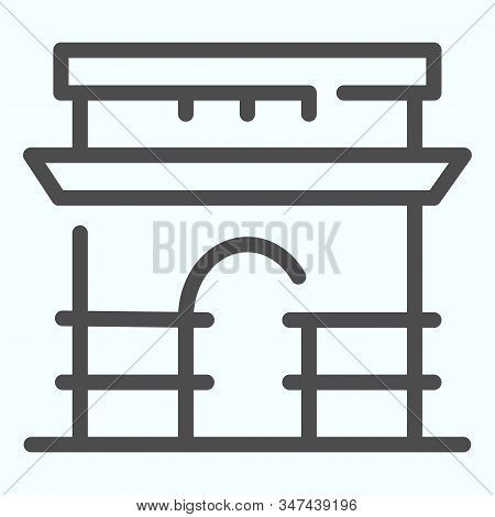 Triumphal Arch Line Icon. French Arch Of Triumph Vector Illustration Isolated On White. Triumphal Ar