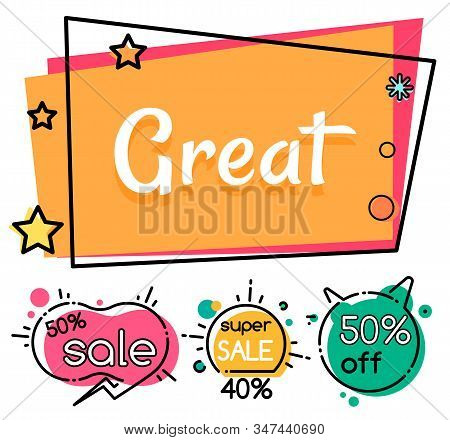 Collection Of Clearance And Selling, Coupons And Propositions. Super Sale And Great Discounts For Sh