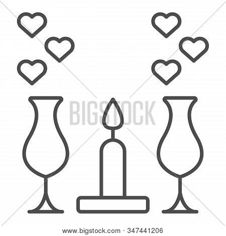 Romantic Dinner Candles Thin Line Icon. Dinner With Glasses And Candlelight Illustration Isolated On
