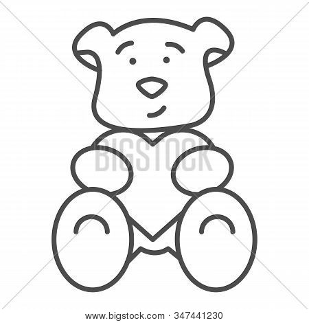 Teddy Bear With Heart Thin Line Icon. Romantic Teddy Bear Toy Illustration Isolated On White. Cute B