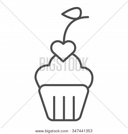 Heart Cupcake Thin Line Icon. Romantic Valentine Cupcake Illustration Isolated On White. Cupcake Dec