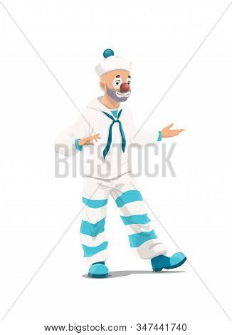 Cartoon Circus Clown Character In White And Blue Sailor Costume, Funfair Carnival. Vector Clown Mime