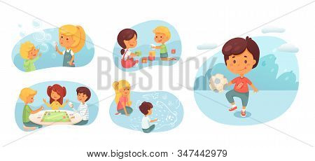 Childhood Hobbies Flat Vector Characters Set. Cute Children Playing Board Games, Football Cartoon Ch