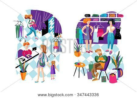 Shopping Relax Flat Vector Characters Set. Mother And Daughter In Clothing Store. Cartoon Girls Choo
