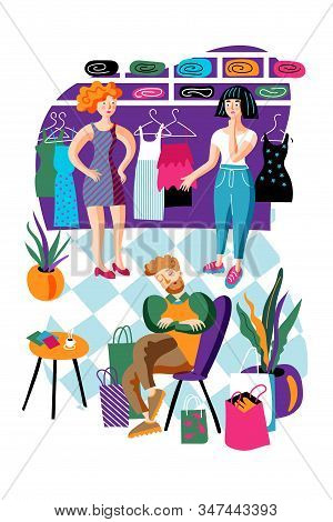 Shopping Relax Flat Vector Characters Set. Man And Women In Clothing Store. Cartoon Girls Choosing N