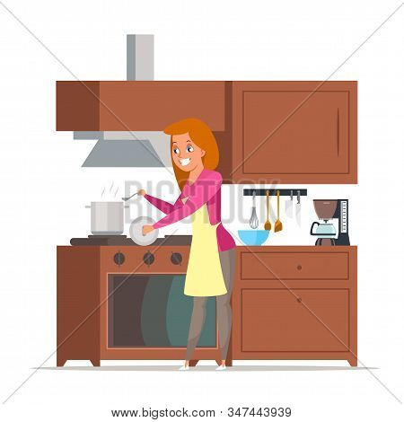 Housewife Cooking Soup Flat Vector Illustration. Happy Mother, Wife Preparing Dinner Cartoon Charact