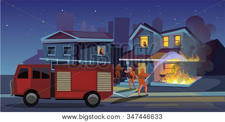 House On Fire Flat Vector Illustration. Firefighters Try To Extinguish Burning House. Firemen Puttin
