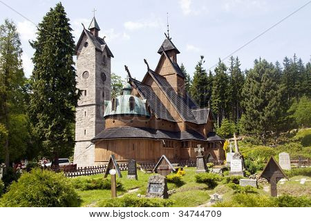 Norwegian temple Wang in Karpacz, Poland.  It was built in the twelfth century in Norway