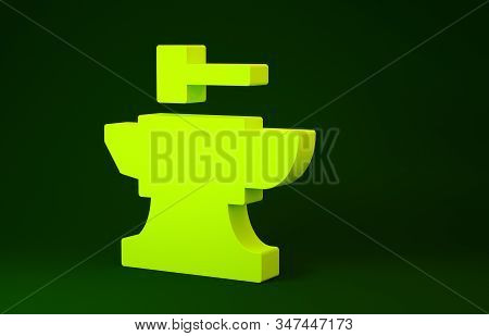 Yellow Anvil For Blacksmithing And Hammer Icon Isolated On Green Background. Metal Forging. Forge To