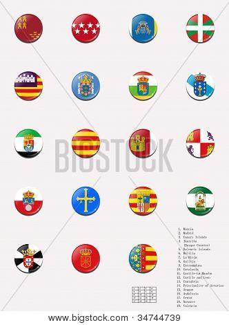 Flags balls/stamps of the autonomous communities of Spain