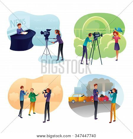 Journalist Interviewing Politician Flat Vector Illustration... Royalty Free  Cliparts, Vectors, And Stock Illustration. Image 129558152.