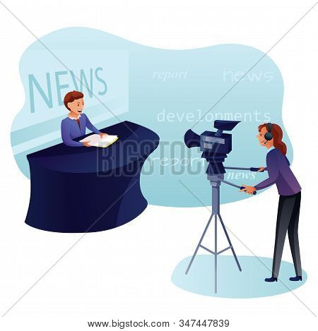 News Program Recording Flat Vector Illustration. News Reader And Camerawoman. Shooting News Show In