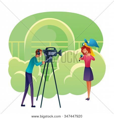 Journalist Reports About Zoo Flat Vector Illustration. Female Journalist With Parrot On Head And Cam