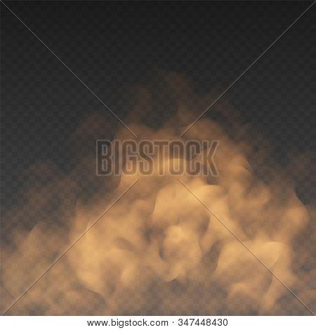 Orange Fog Or Smoke Cloud Isolated On Transparent Background. Realistic Smog, Haze, Mist Or Cloudine
