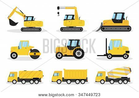 Heavy Machinery Flat Vector Illustrations Set. Excavator, Crane, Bulldozer. Construction Vehicles Pa