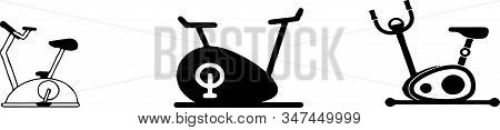 Stationary Bike Icon Isolated On Background , Silhouette, Sport, Sportive, Stationary