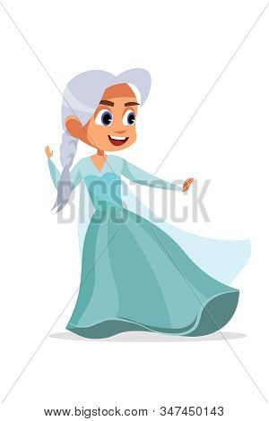Little Kid In Halloween Suit Vector Illustration. Girl In Dress Cartoon Characters. Cute Princess, S