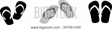 Slippers Icon Isolated On Background Tropical, Vacation, Vector, Wear, Wet Slipper, White