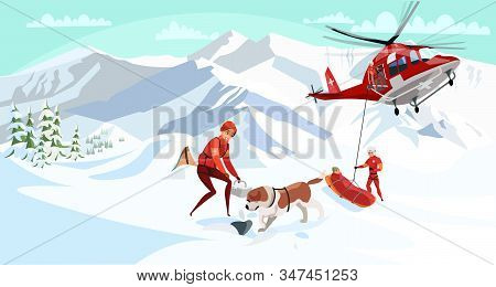 Alpine Rescue Service Flat Vector Illustration. Brave Mountain Rescuers With Dog Cartoon Characters.