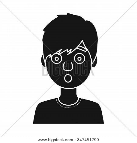 Vector Design Of Guy And Fright Sign. Collection Of Guy And Surprise Stock Vector Illustration.