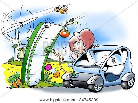 Electric Car That Gets Fresh Supplies