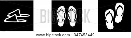 Slippers Icon Isolated On Background , Vector, Wear, Wet Slipper, White