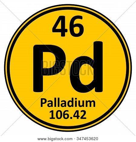 Periodic Table Element Palladium Icon On White Background. Vector Illustration.