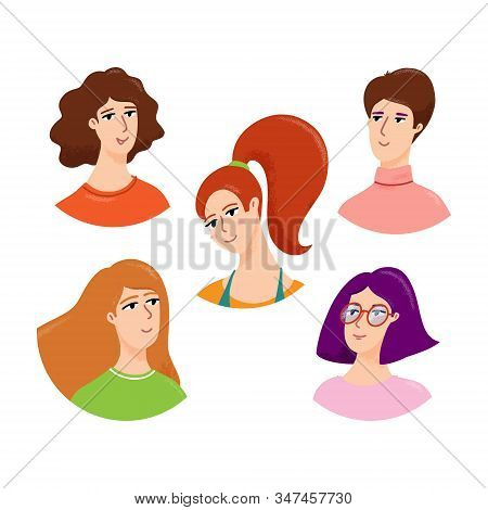 Young Woman Avatar, Portrait Set, Vector Illustration Isolated On White Background. Set Of Female He