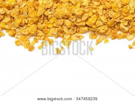 Healthy food concept -Corn flakes on white background