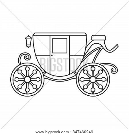 Vintage Carriage Vector Icon.outline, Line Vector Icon Vintage Carriage Isolated On White Background