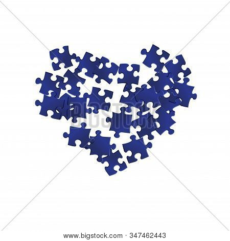 Business Teaser Jigsaw Puzzle Dark Blue Pieces Vector Background. Group Of Puzzle Pieces Isolated On