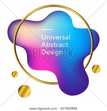 Abstract Colorful Fluid Flow Shapes. Geometric Graphic Element In Circle. Dynamical, Wavy Blot Form.