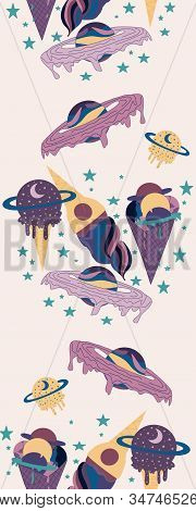 Vertical Seamless Border With Yellow And Purple Galactic Ice Creams And Planets