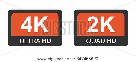4k Ultra Hd And 2k Quad Hd. Modern Technology Signs. Vector Illustration Symbol Monitor Display