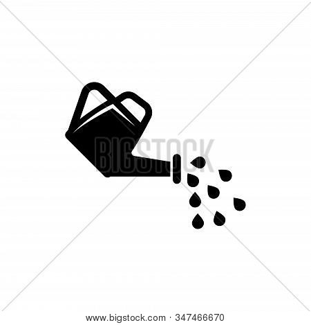 Watering Can And Water Drops. Flat Vector Icon Illustration. Simple Black Symbol On White Background