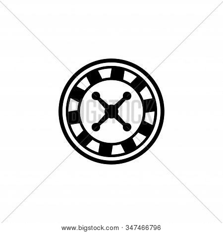 Casino Roulette, Betting. Flat Vector Icon Illustration. Simple Black Symbol On White Background. Ca