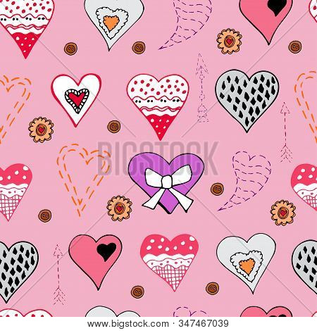 Seamless Pattern With  Hand Drawn Sketch Of  Hearts. Color Objects Isolated On Pink Background. Symb