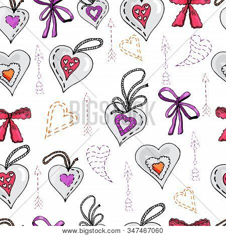 Seamless Pattern With  Hand Drawn Sketch Of Sewing  Hearts, Bows And Arrows.  Color Objects Isolated