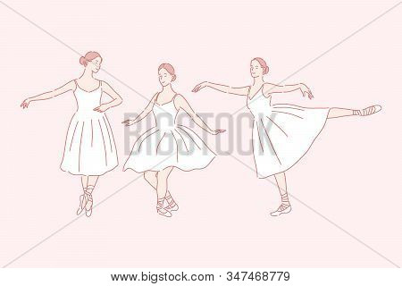 Dancing, Ballet, Teaching Set Concept. Young Woman Is Russian Ballet Dancer. Graceful Girl Is Being