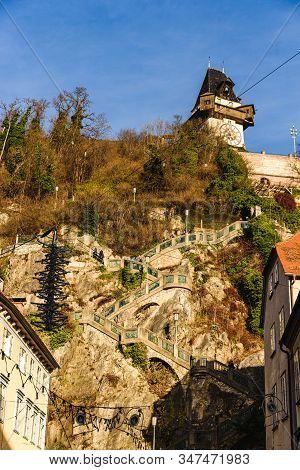 Graz, Styria - Austria - 24.12.2019: City Of Graz Street And Stairway To Clock Tower Uhrturm View, S